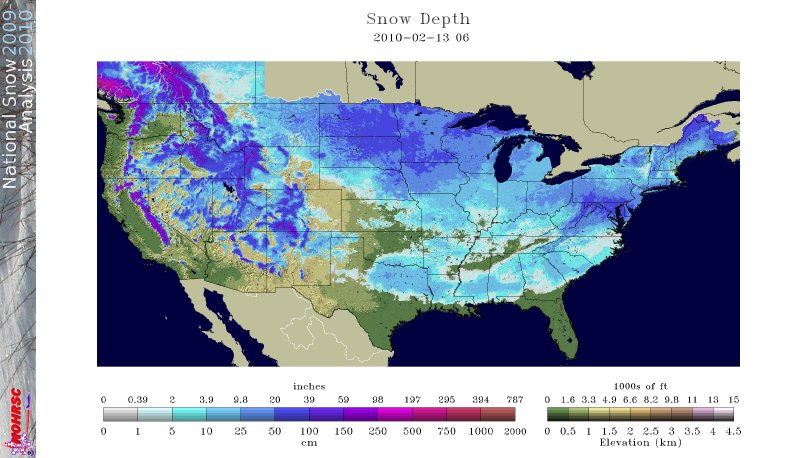 Snow Depth Across the U.S. on 13 February 2010