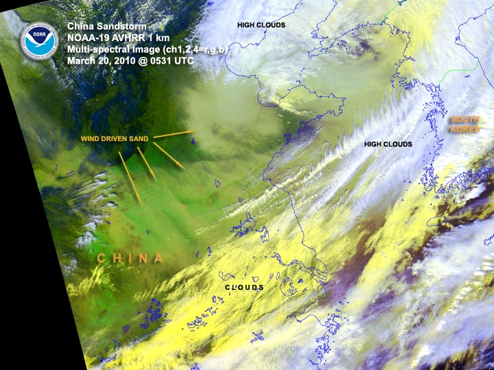 Sandstorm over China on 20 March 2010. Beijing is located near the top left middle of the image.