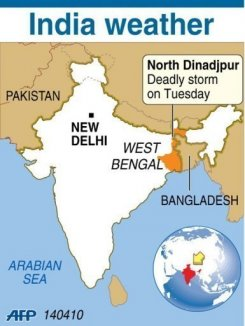 Area in India and Bangladesh affected by nor'wester on 13 April 2010