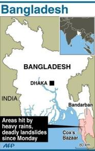 Map location of flooding in Bangladesh on 14-15 June 2010