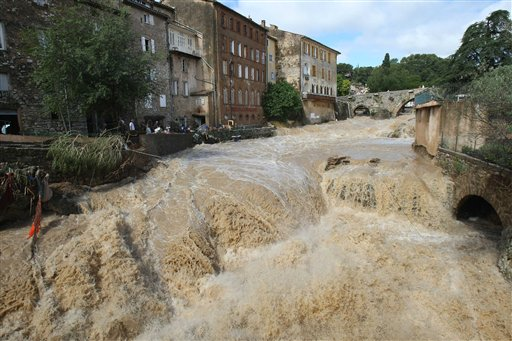 The river Artuby flooding the town of Draguigan in southern France on 16 June 2010