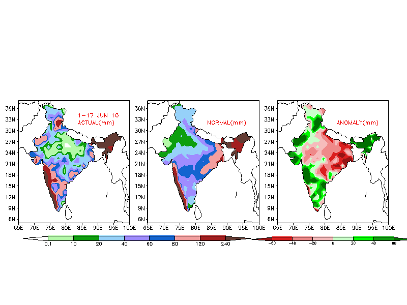 Actual, normal, and anomalous rainfall amounts in India 01-17 June 2010