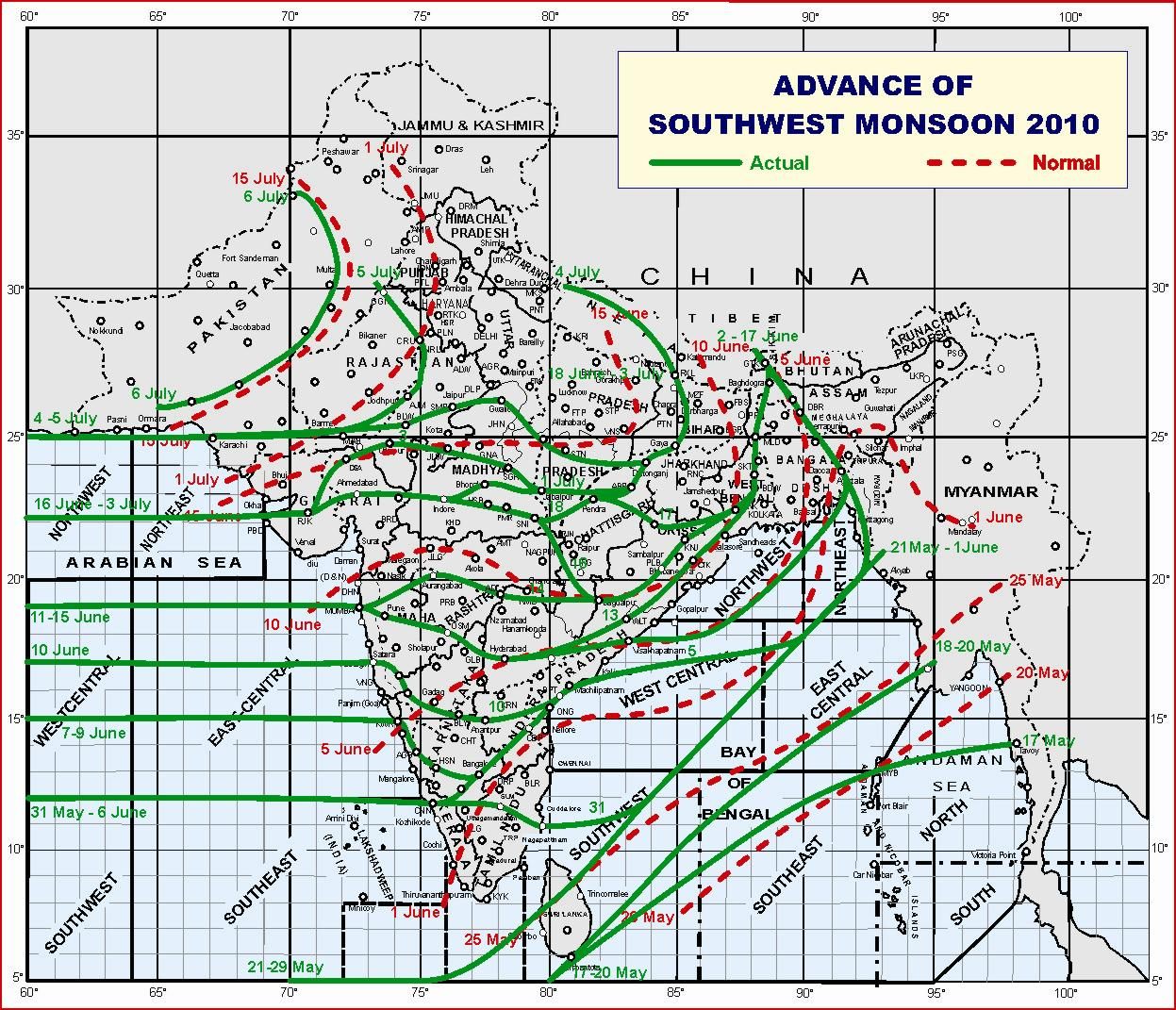 Map of Southwest Monsoon normal and actual tracks over India for 2010