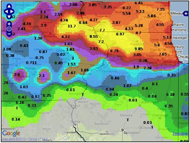 Map of 48-hour rainfall over portions of Iowa, Illinois, and Wisconsin for the period 22-24 July, 2010