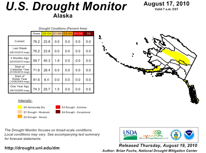 U.S. Drought Monitor showing abnormally dry conditions across portions of interior Canada