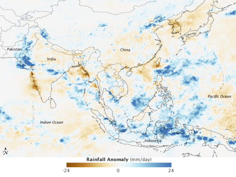 Asia Rainfall Map