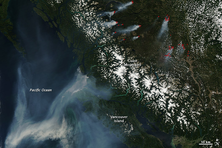 Fires in British Columbia, Canada on 13 August, 2010