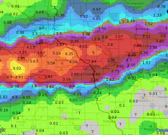 Rainfall totals in inches for western Wisconsin and southeast Minnesota for 22–23 September 2010