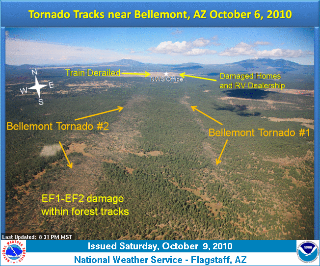 Tornado tracks near Bellemont, Arizona on 6 October, 2010