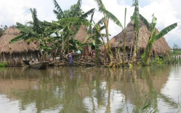 Flooded homes in Benin on 15 October, 2010