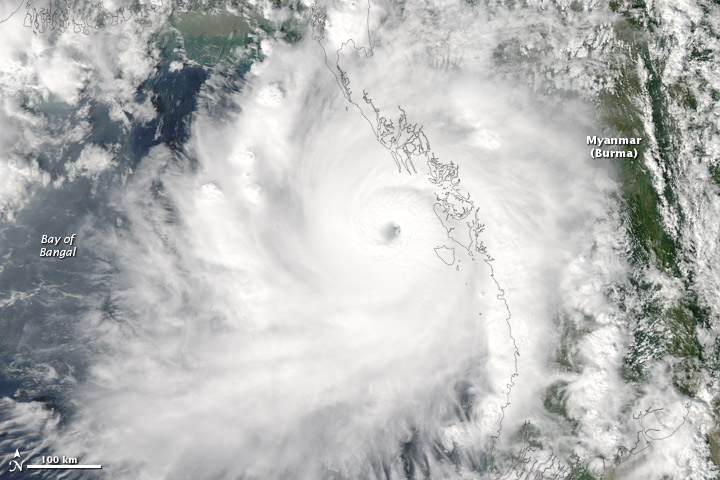 Typhoon Giri striking western Myanmar on 22 October, 2010