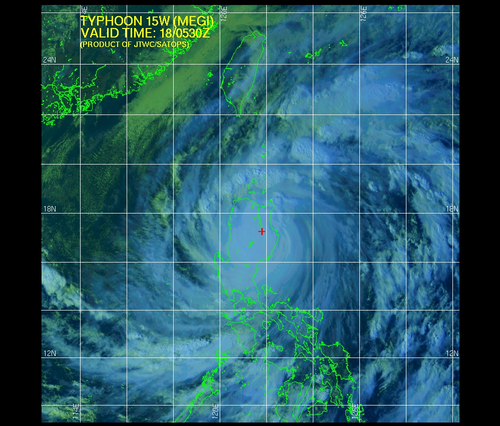 Typhoon Megi over the northern Philippines on 18 October, 2010