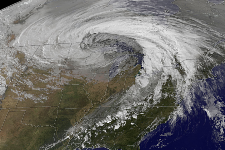 GOES Satellite imagery of U.S. midwest extratropical storm on 26 October 2010