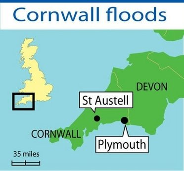 Map of region affected by UK flooding