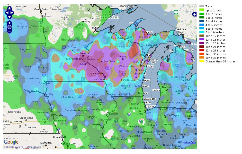 10–11 December 2010 snowfall totals across southeastern Minnesota and southwestern Wisconsin