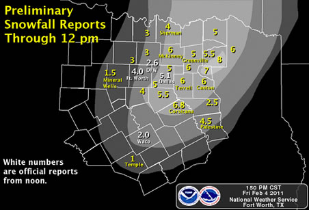 Dallas Snowfall Accumulation 4 February