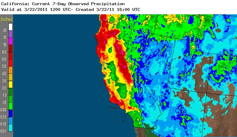 7-Day California Precipitation 16-22 March