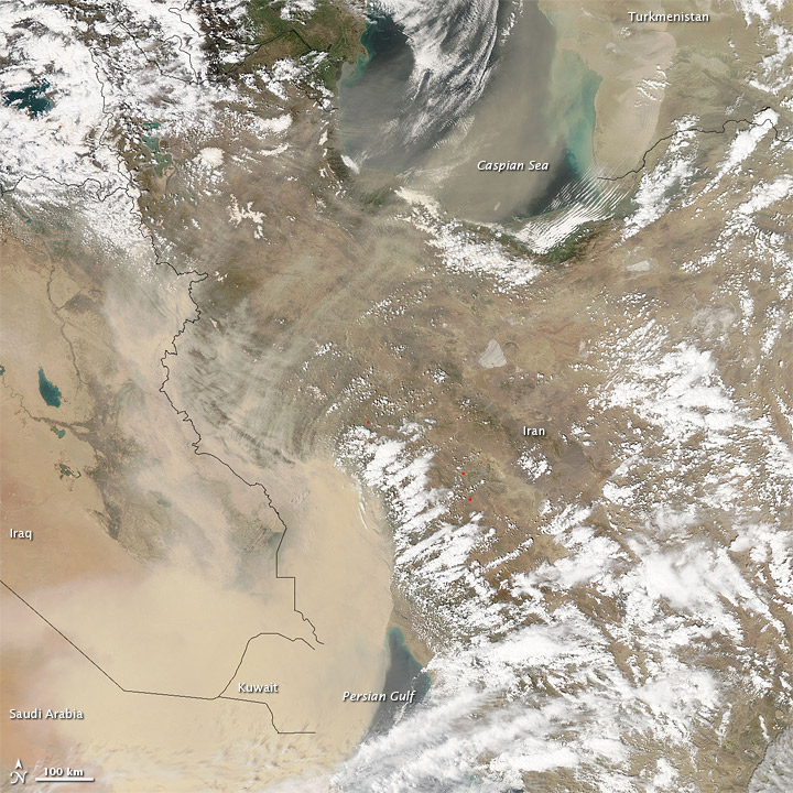 Satellite Image of Kuwait Dust Storm