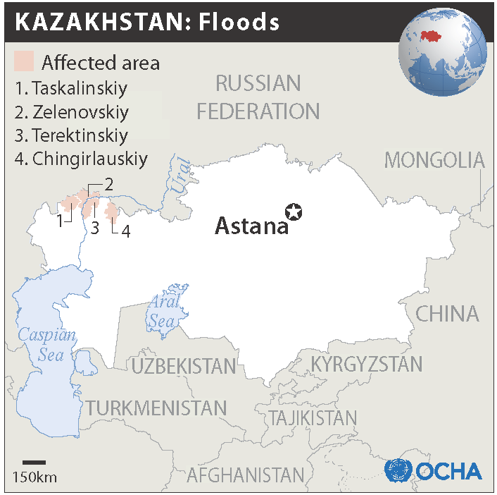 Map of Kazakhstan flooding