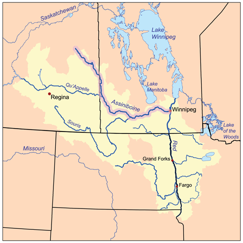 Map of Assiniboine River