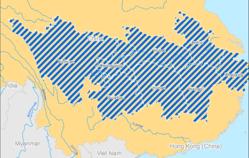 Mapped areas of flooding across central and southern China on 17 June 2011