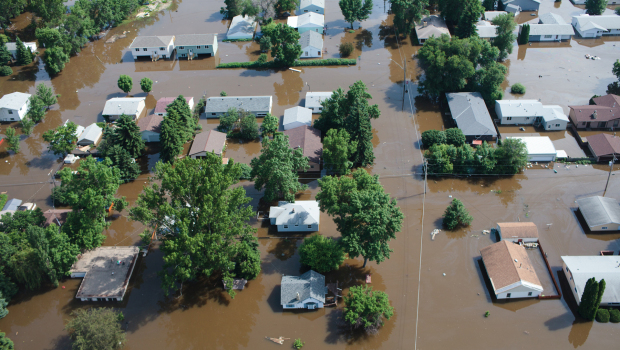 Flooding in Minot, North Dakota on 23 June 2011, two days before the Souris River crested