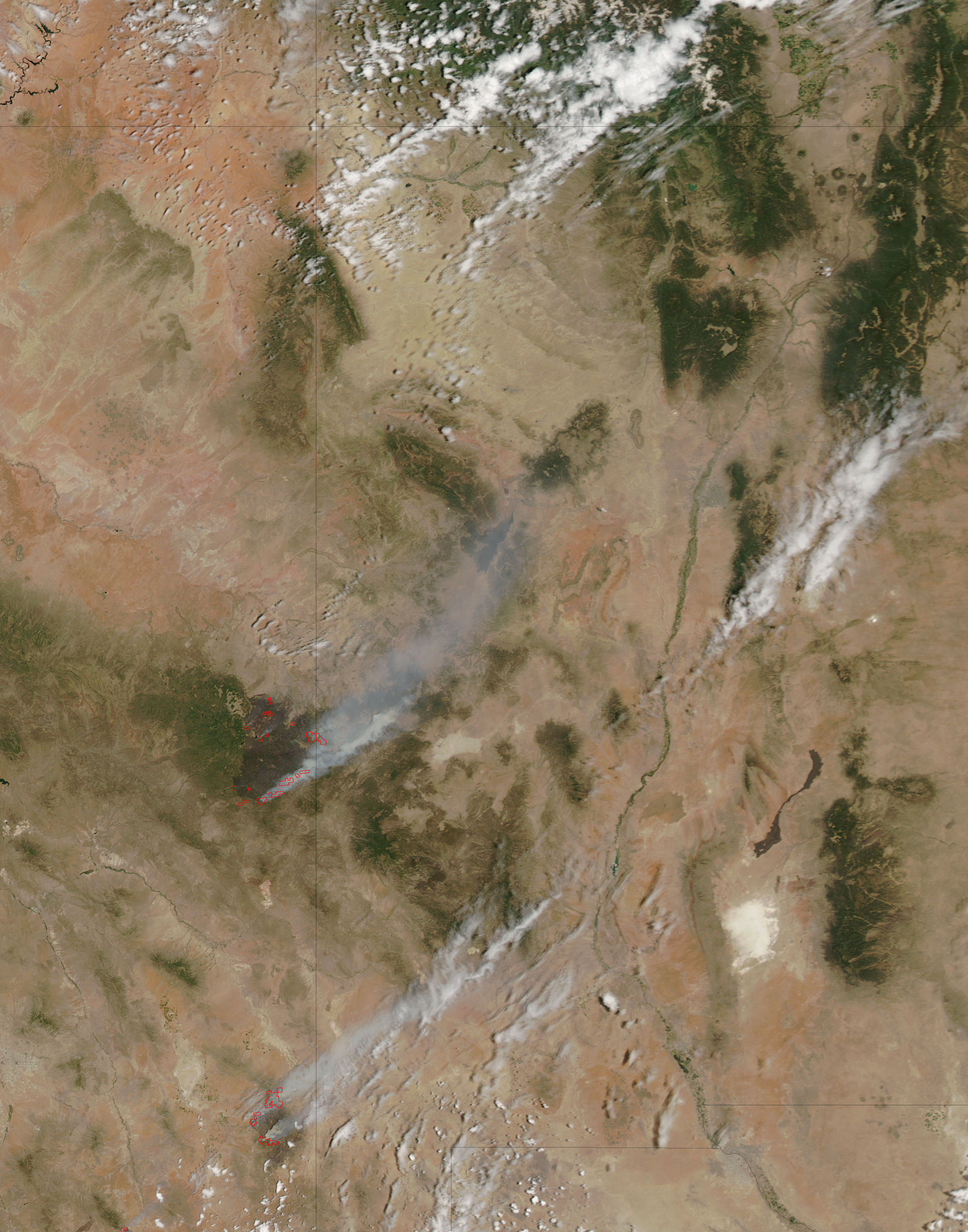 MODIS satellite imagery of the Wallow fire on 12 June 2011
