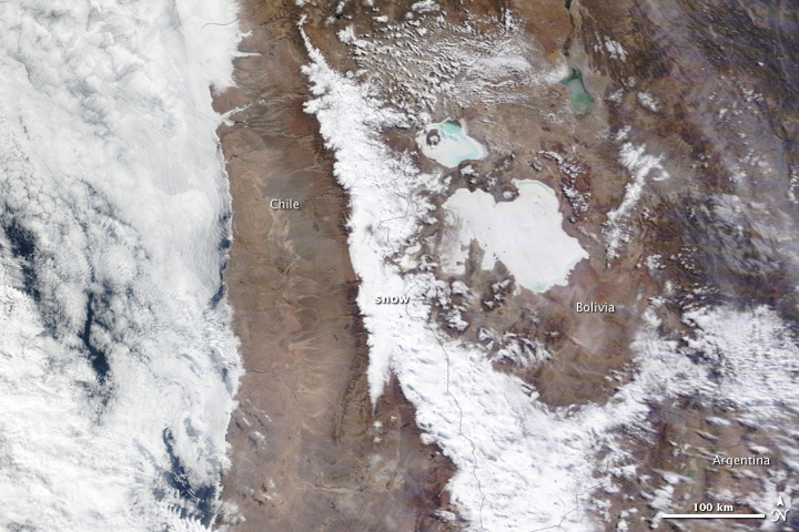 MODIS satellite imagery of snow in the Atacama desert of South America on 07 July 2011