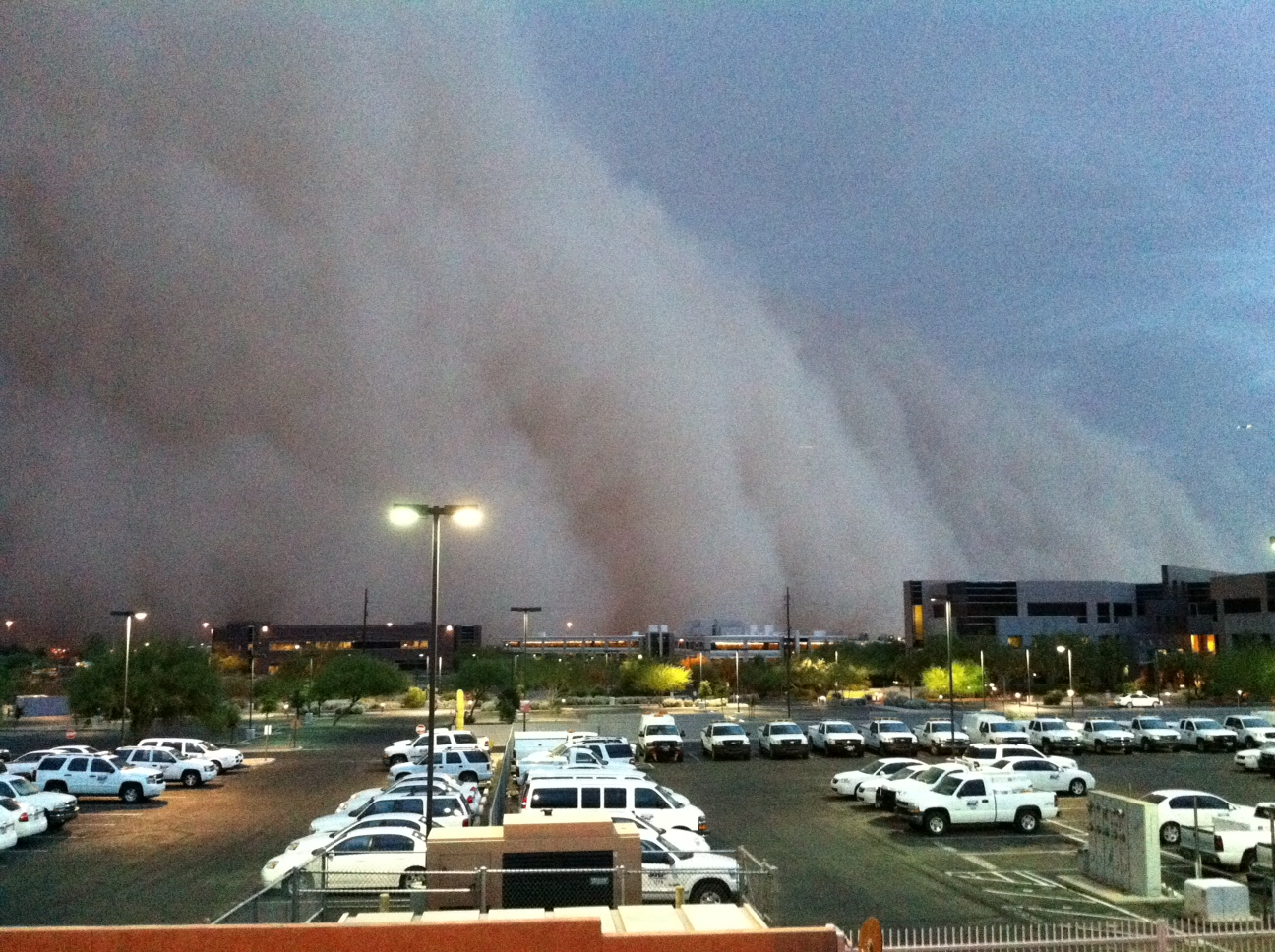 Phoenix, Arizona dust storm as viewed from local National Weather Service office on 05 July 2011