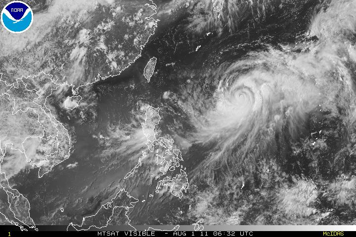 Tropical Storm Muifa crossing over the South China Sea on 01 August 2011