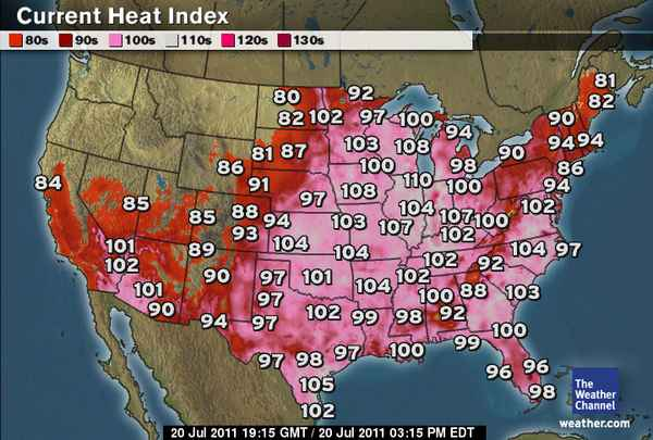 Map of afternoon U.S. heat indexes on 20 July 2011