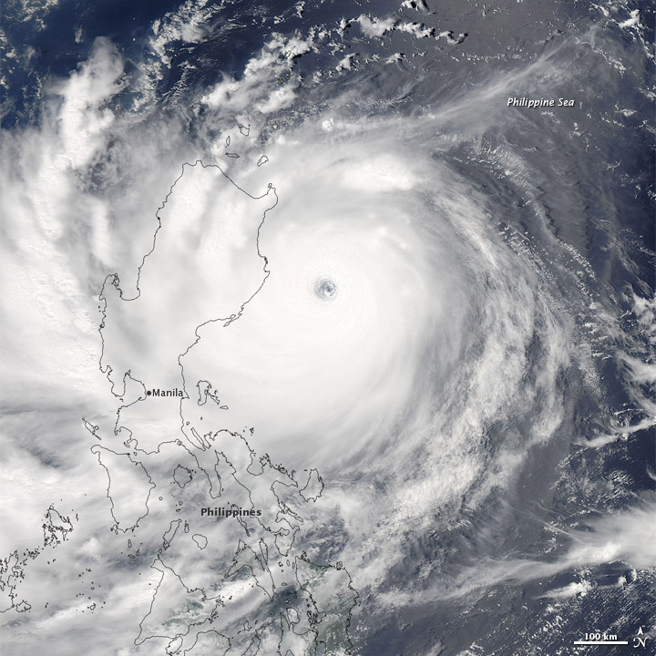 Typhoon Nanmadol approaching the Philippines on 26 August 2011.