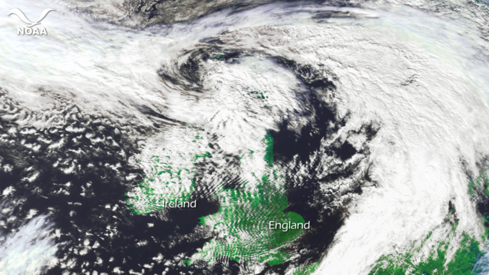 Post Tropical Storm Katia moving across northern United Kingdom.