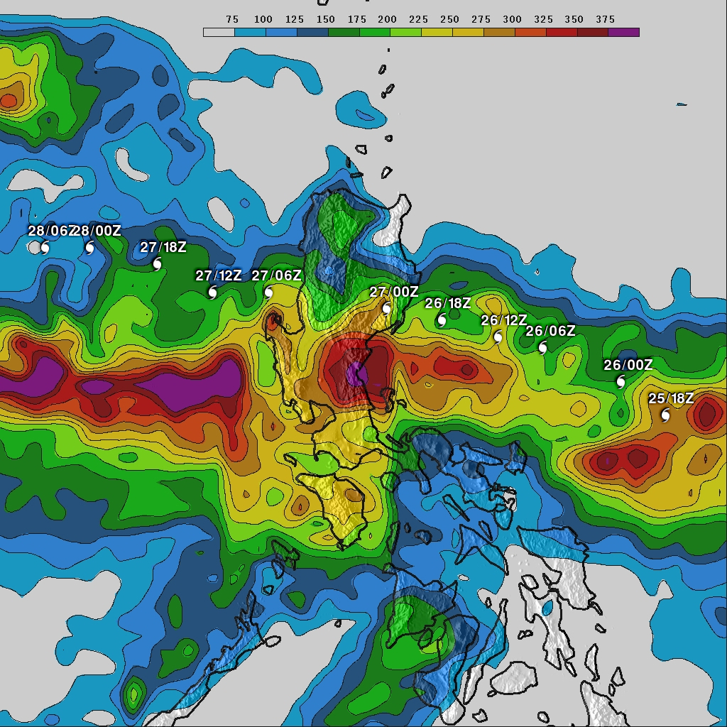 Rainfall totals (mm) for Typhoon Nesat as it crosses over the northern Philippine island of Luzon