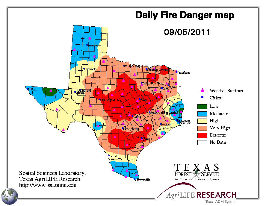 Texas Forest Service Fire Map Global Hazards   September 2011 | State of the Climate | National