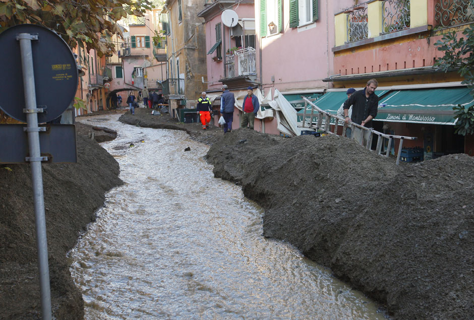 Flooded streets with mud wall in Monterosso, Italy on 26 October