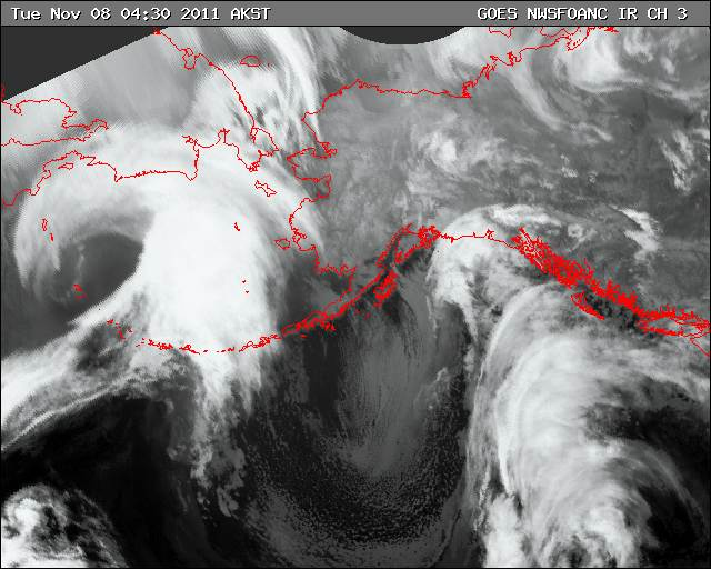 GOES satellite imagery of storm system on 8 November 2011