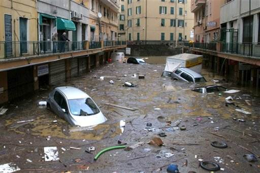 Flooded street in Genoa, Italy on 4 November