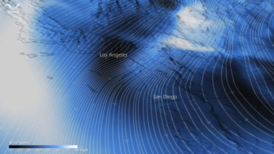 Santa Ana Winds sweeping through Southern California on 1 December 2011, based on NOAA's North America Model