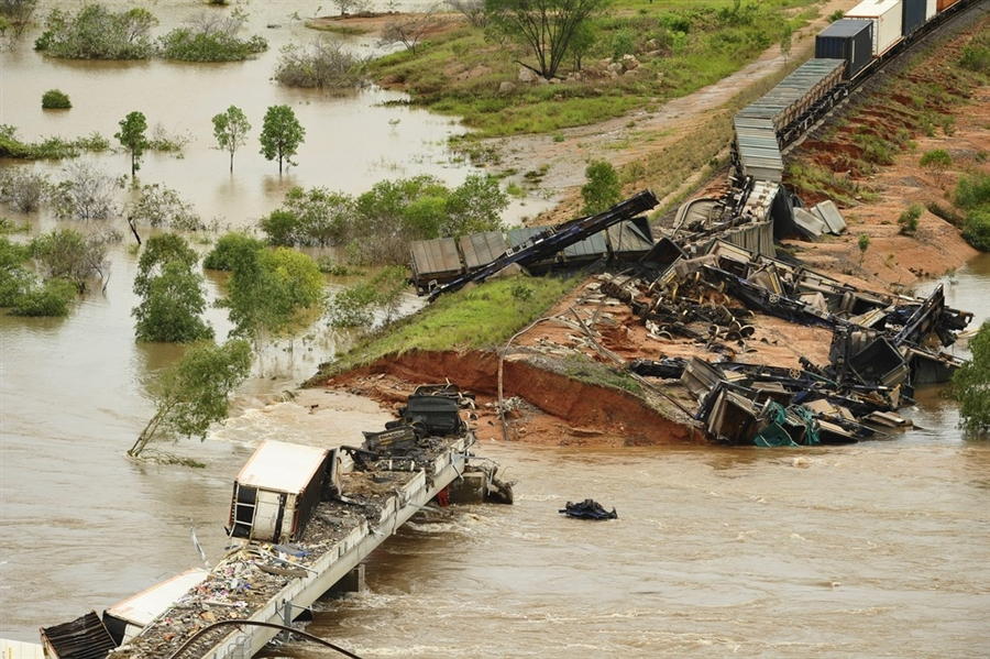 A freight train washed off the track near the Australian town of Katherine in the Northern Territory on 27 December 2011