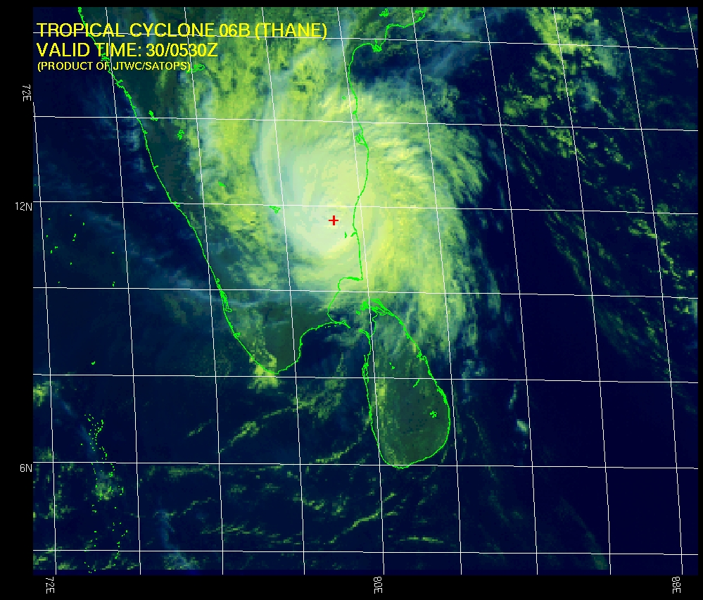 Tropical Cyclone Thane over souteastern India on 30 December 2011