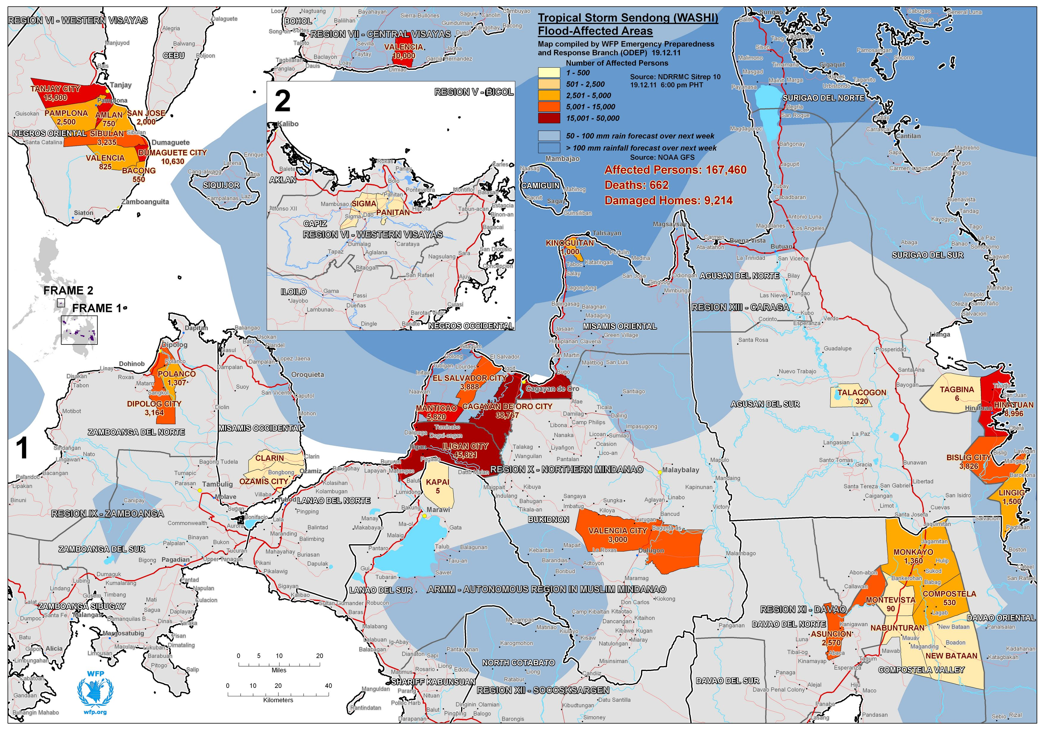 Regions on Mindanao Island in the Philippines affected by Tropical Cyclone Washi on 16–17 December 2011