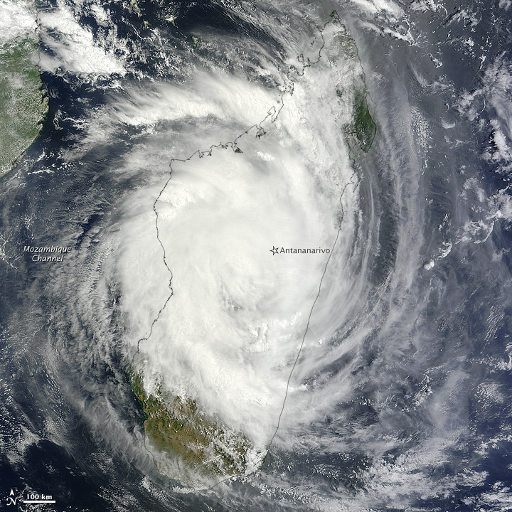 Tropical Cyclone Giovanna moving across the island nation of Madagascar in the South Indian Ocean on 14 February 2012