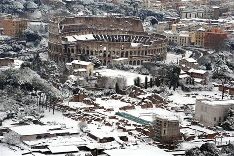 Snow-covered Colliseum on 04 February 2012