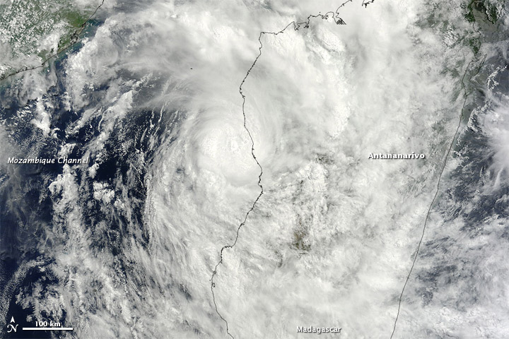 Tropical Storm Irina moving across the island nation of Madagascar in the South Indian Ocean on 01 March 2012
