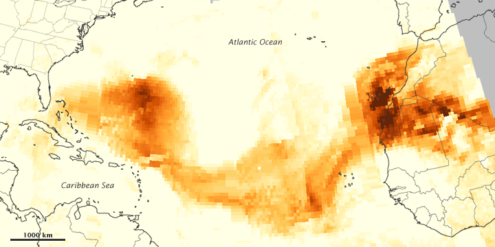 Dust Plume crossing Atlantic Ocean on 21 July, 2012