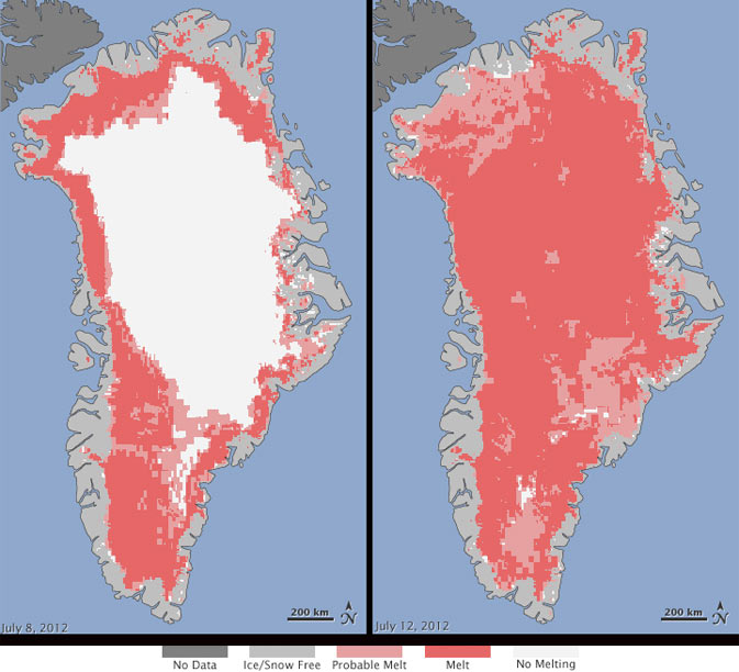 Greenland Thawing Analysis from July 8–12, 2012