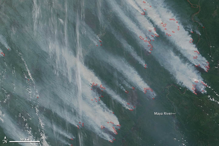 Smoke Plumes from Siberian Wildfires on 09 July 2012