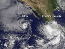 East Pacific tropical cyclones satellite view on 10 Aug 2012