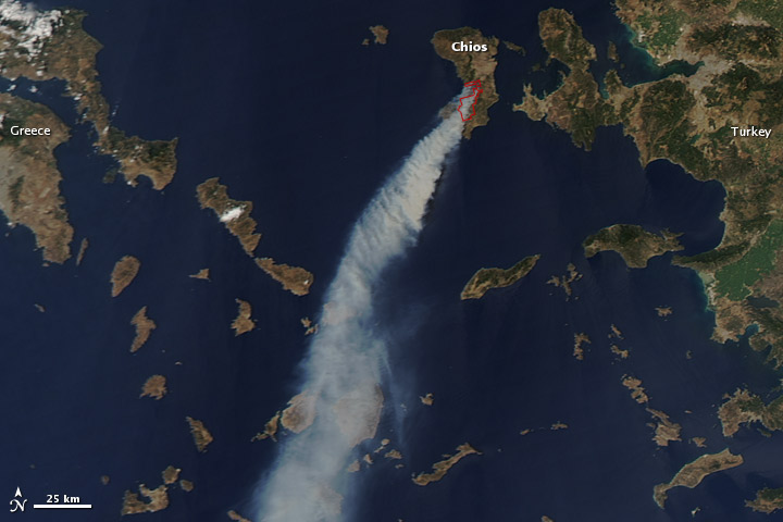 Smoke Plumes from Grecian Wildfires on 18 August 2012